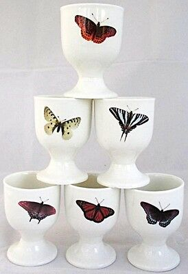 Butterflies Eggcups Set of 6 Bone China Egg Cups Hand Decorated in the U.K.