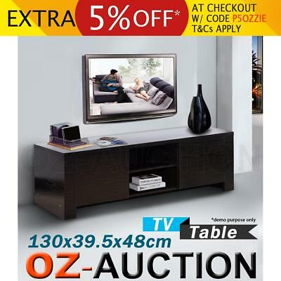 Modern TV Stand Table Entertainment Unit with 2 Cabinet & 2 Shelf Storage Wengue