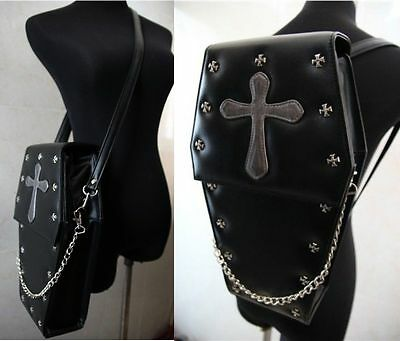 Gothic Steampunk Exclusive Retro Visual Rock Coffin Shape PU Bag Backpack Unisex