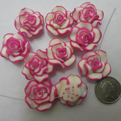 30pcs Lovely Polymer Clay Flower Button Beads Pink/White Cards Jewellery Making