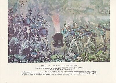 "1974 Vintage Currier & Ives ""SIEGE OF VERA CRUZ"" (MEXICAN WAR) COLOR Lithograph"