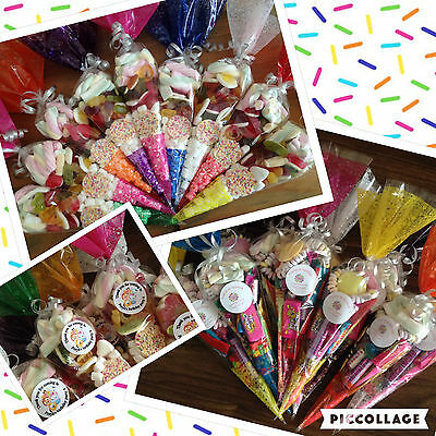 Pre filled Personalised Party Retro Cones Sweets Birthday QUICK FREE DELIVERY