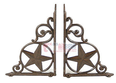 2 Western Star Shelf Bracket Set Cast Iron Rustic Decorative Doorway Accent