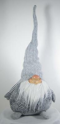 "Chubby Scandinavian Gnome Sitting Gray Grey Felt  23"" Tall x 9"""