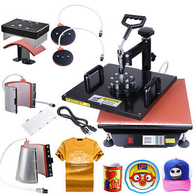 15x15 6in 1 Digital Heat Press Machine Sublimation T-Shirt/Mug/Plate Hat Printer