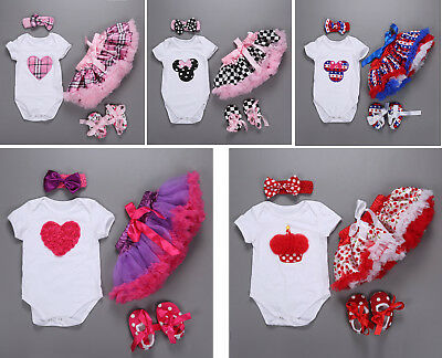 Baby Newborn Girl Infant Headband+Romper Playsuit+Skirt+Shoes Outfit Clothes Set