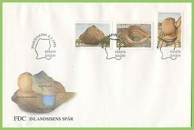 Aland 1995 3 values Geology/Rocks First Day Cover