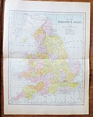1800s England Wales Map Vintage Book Plate Tourist Information Roads Byways
