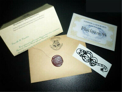 Harry Potter Personalized Acceptance Letter London To Hogwarts Ticket + Tattoo