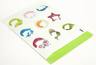100 12x15.5 Pink/Green Silhouette Designer Mailers Poly Shipping Envelopes Bags