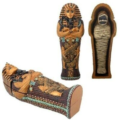 Ancient Egyptian King Tut Sarcophagus and Mummy Box Sculpture Small Figurine