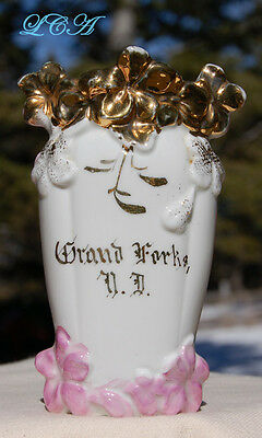 Antique GRAND FORKS NORTH DAKOTA  porcelain vase over ONE CENTURY old