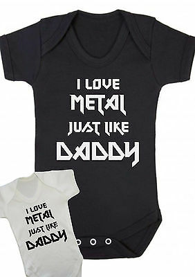 BABY BOY,GIRL,GOTH I LOVE METAL JUST LIKE DADDY,Black red Bodysuit,vest,top,Gift
