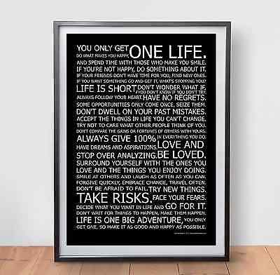 LIFE MANIFESTO POSTER - Motivational Quote Print Picture Wall Gym Art - Black