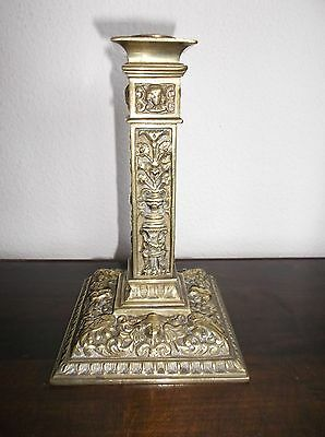 "Antique Brass Candlestick, Square Base, Cherubs, Italy?, Square Nut, 7""H,"