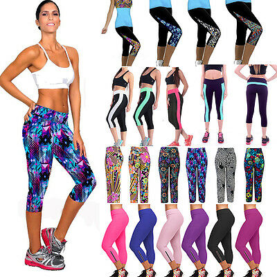 Womens Fitness YOGA Capri 3/4 Pants Stretch Running Gym Sports Cropped Leggings
