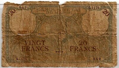 MOROCCO 1941 20 FRANCS  BANK NOTE in a Protective Sleeve