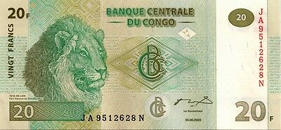 CONGO 2003 20 FRANCS BANK NOTE in a Protective Sleeve