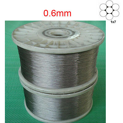 0.6mm 1x7 marine grade 316Stainless Steel Cable Wire Rope -100feet