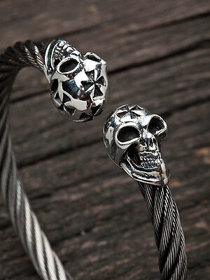 Skull Cross Wooven 925 Sterling Silver Cuff Bracelet Mens Bangle Biker Gothic