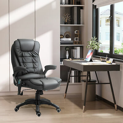 HOMCOM Heated Vibrating Massage Office Chair Swivel Executive Leather Chair
