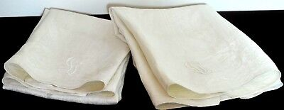"""Pair Antique Linen Damask Towels W """"Lg Or Gl"""" Mono And Lily Of The Valley Pp652"""