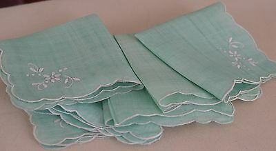Lovely Turquoise Linen Luncheon Tablecloth With 6 Napkins Pp688