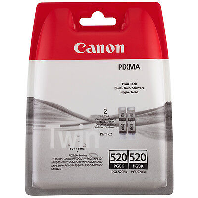 Genuine Canon PGI520BK / PGI-520BK / PGI 520 / PG520BK Twin Pack x2 Black Inks