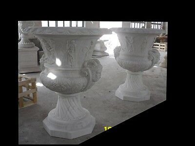 Nice Hand Carved Large Pair Of Figural Marble Urns - Urn87