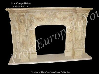 Beautiful Figural Hand Carved Marble Fireplace Mantel