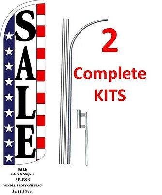 1 SALE bl//wh 15 WINDLESS SWOOPER FLAG KIT one