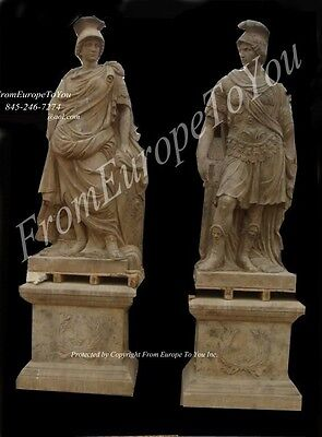 Pair Of Roman Carved Stone Large Statues Hd254