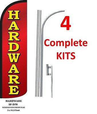 4 (four) HARDWARE 15' x 3' WINDLESS SWOOPER FLAGS KIT