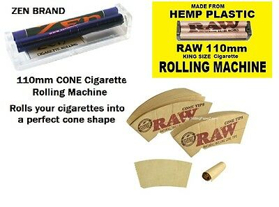 NEW 110mm RAW rolling machine + ZEN KING SIZE CONE roller + RAW Cone Tips