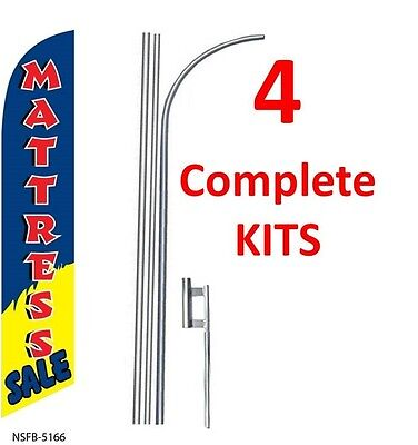 4 (four) MATTRESS SALE blue/red 15' SWOOPER #3 FEATHER FLAGS KIT