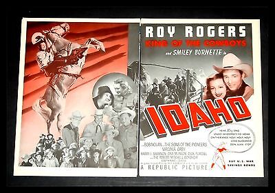 """Original 1943 """"idaho"""" Roy Rodgers Sons Of The Pioneers   Two-Page Movie Print Ad"""