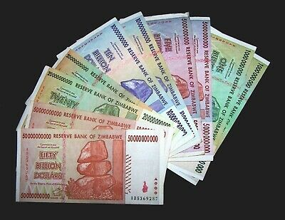 10 Zimbabwe Banknotes-includes 2 x 1,5,10,20 & 50 Billion Dollars-currency