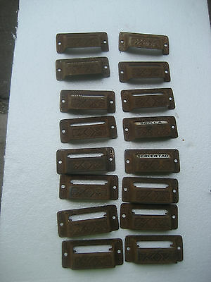 c1880 SET of 16 matching authentic VICTORIAN cabinet pull hardware 3 5/8 on hole