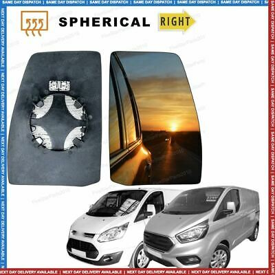 Right Driver side Convex Wing mirror glass for Ford Transit Custom 12-16 Heated