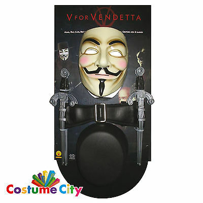 Adults Official V for Vendetta Costume Accessory Set Guy Fawkes Fancy Dress