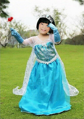 Snow Queen Elsa Coronation Day Party Dress & Cape Fancy Cosplay Costume & Tiara