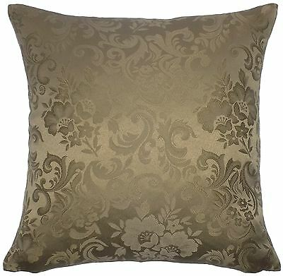 """Jacquard Floral Damask Brown 18"""" 45Cm Cushion Cover To Match Curtains"""