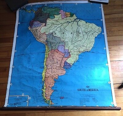 Vintage Weber Costello South America Brazil Pulldown Canvas Schoolhouse Map
