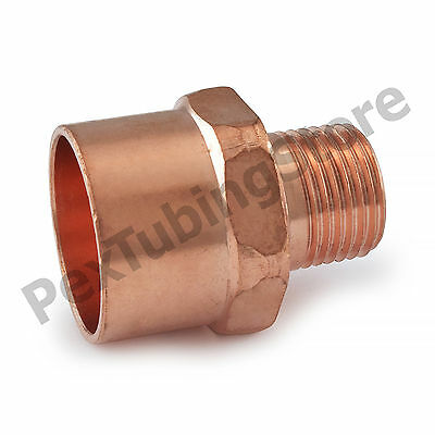 """(25) 1"""" C x 1/2"""" Male NPT Threaded Copper Adapters"""