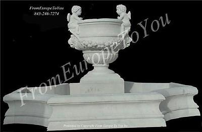 Nice Hand Carved Marble Cherub Estate Outdoors Garden Fountain - Ft058