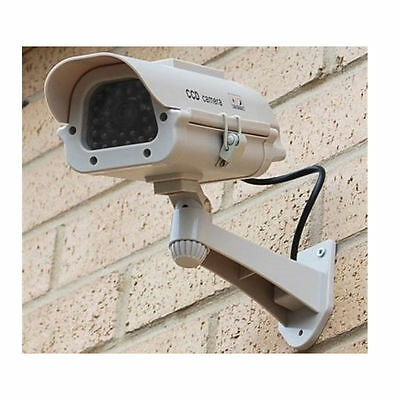 Outdoor CCTV Dummy Fake Home Security Camera with LED Light Blinking White