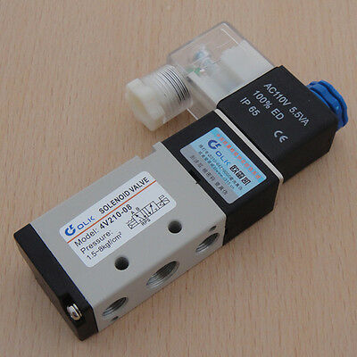 AC 110V 5 Port 4 Way 2 Position Solenoid Air Valve For Pneumatic System New