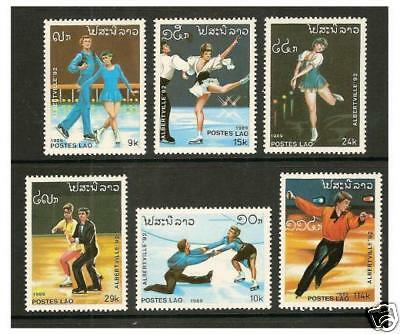 Laos - 1989 Winter Olympic Games set - MNH - SG 1134/9