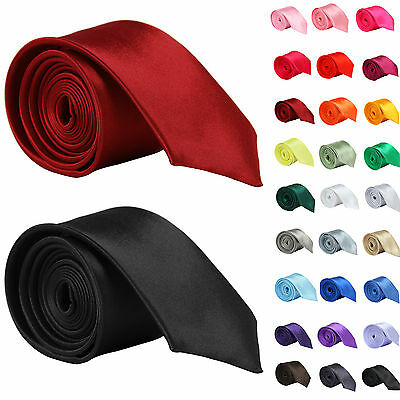 Mens New High Quality Skinny Solid Color Plain Satin NeckTie
