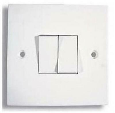 100 X 2 Gang 2 Way Double Light Switch White Plastic 10 Amp Single Plate